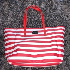 Red and white striped Kate Spade tote